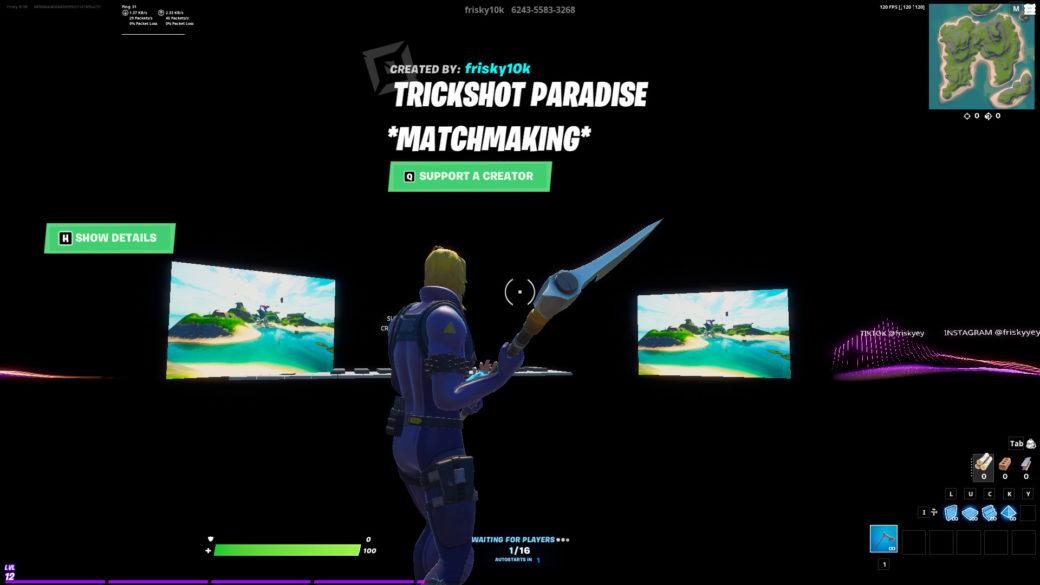 Fortnite Match Macking Disabled May 16 Trickshot Paradise Matchmaking Frisky10k Fortnite Creative Map Code